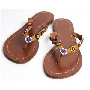 Tory Burch Marguerite Terra Leather Thong Sandal